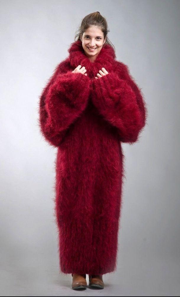 hand knitted mohair sweater dress mock unisex raglan handmade one size #Handmade #TurtleneckMock