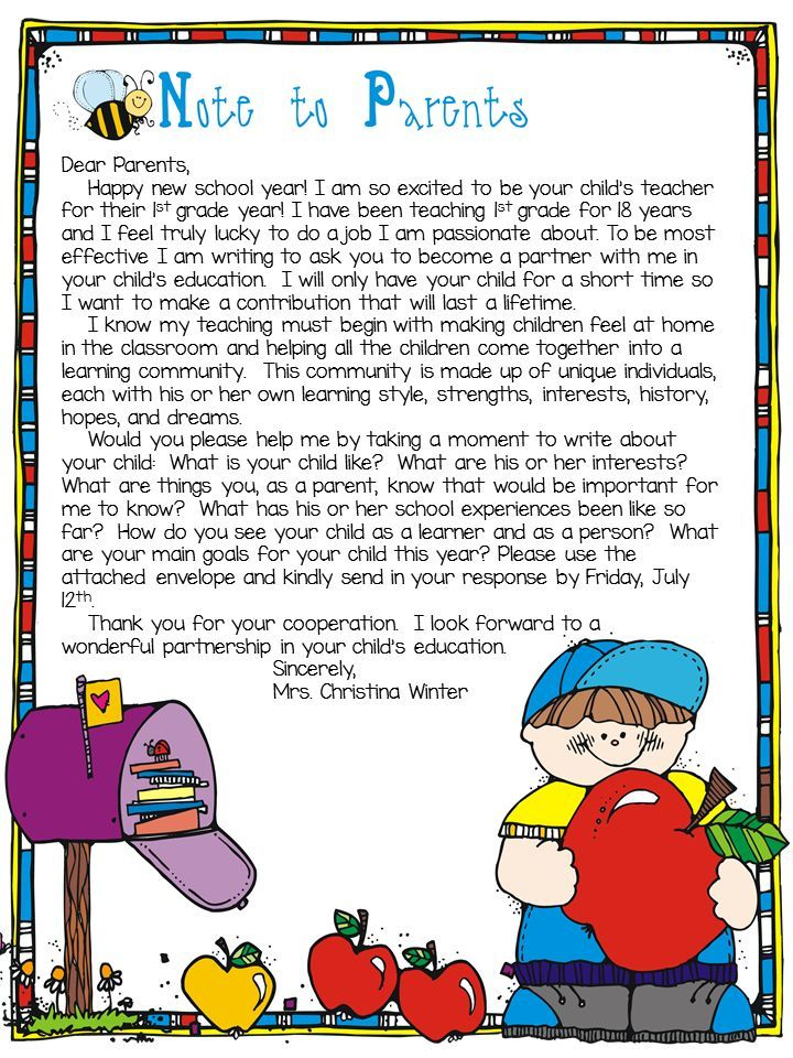 181 best back to school images on pinterest preschool school and parent information letter to the teacher editable spiritdancerdesigns Images
