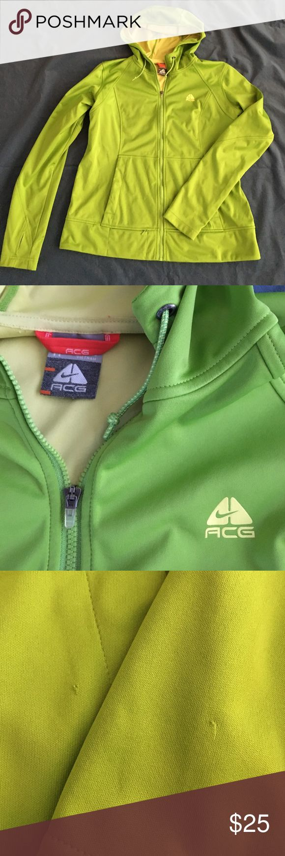 Nike ACG Jacket GUC. Awesome lightweight hooded jacket. Lime green with yellow inside. Zips. Thumb holes. Pockets on the front as well as a small zipper pocket. Only issues I could see are a small pic on the sleeve and tiny hole on the pocket. Size medium. Nike Jackets & Coats