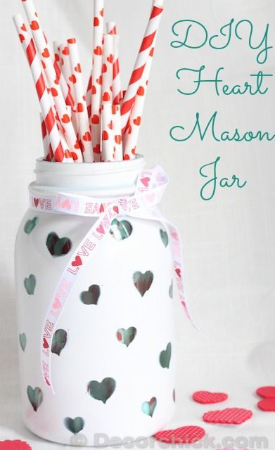 DIY Heart Mason Jar | Decorchick.com: Valentines Crafts, Crafts Ideas, Diy Heart, Jars Crafts, Valentines Day, Jars Valentines, Valentines Mason, Heart Mason, Mason Jars