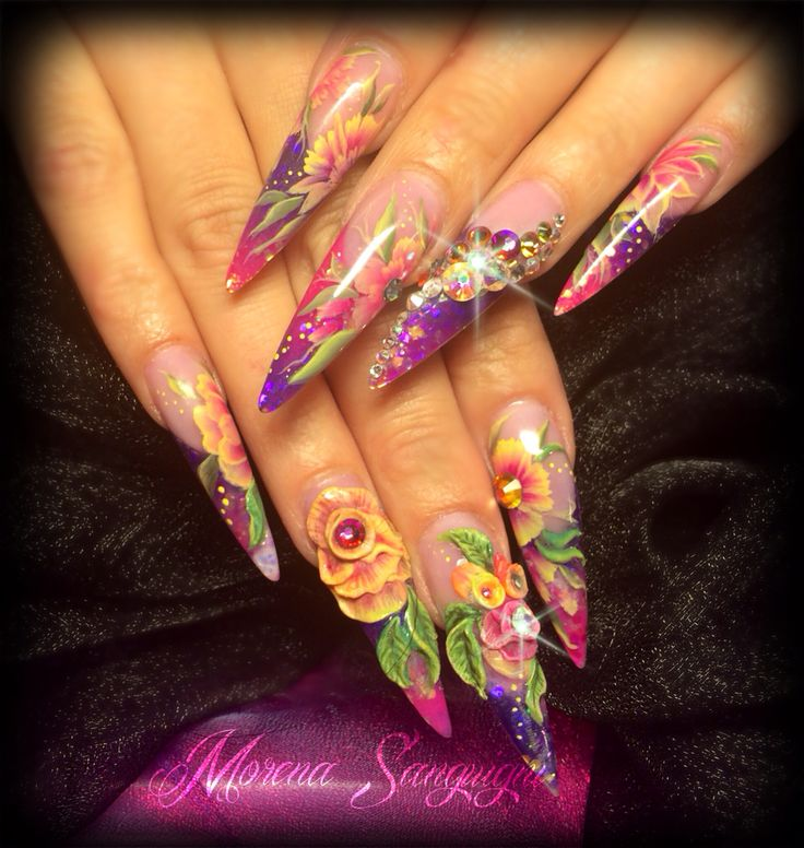 Stiletto nails by me, sculpted in acrylic with 3d flowers and one stroke painting, bling, swarovski crystals pink purple tropical holiday