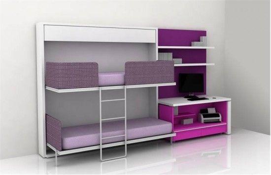 Home. Modern. Minimal. Bedroom. Purple. Pink. Bunk beds. Kids. Inspiration.