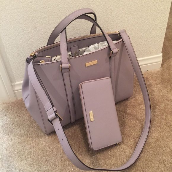 NWT KATE SPADE nEWBURY LANE LODEN Large & WALLET They are new with tags Color: LILAC BLISS Dimensions of the purse: 13.5 *10*5 Dimensions of the wallet:3.9*7.6*.8 kate spade Bags Satchels