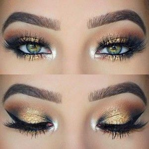 Black and Gold Eye Makeup | Black and gold looks so pretty with green eyes. To finish the look off, add the same gold eyeshadow to your water line and use a white cream to the corner of your eyes to stand out.