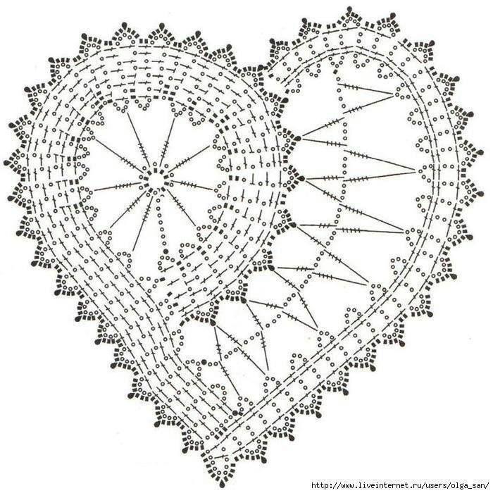 szydełkowe serce schemat