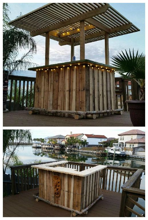 I built this pallet tiki bar with three pallets as the base and eventually added the pergola top for shade and also to attach some string lights. #Outdoor, #RecycledPallet
