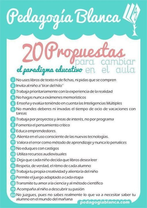 20 propuestas para cambiar en el aula