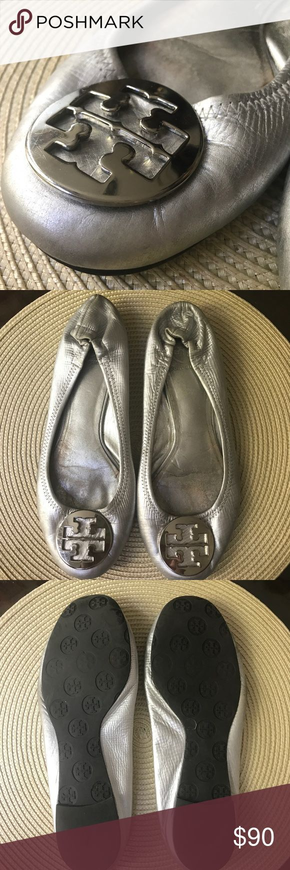 Tory Burch Silver Ballerina Flat Soft silver leather and signature Tory Burch emblem - authentic worn a couple times perfect otherwise. Size 10 fits 9.5 / 10 Tory Burch Shoes Flats & Loafers