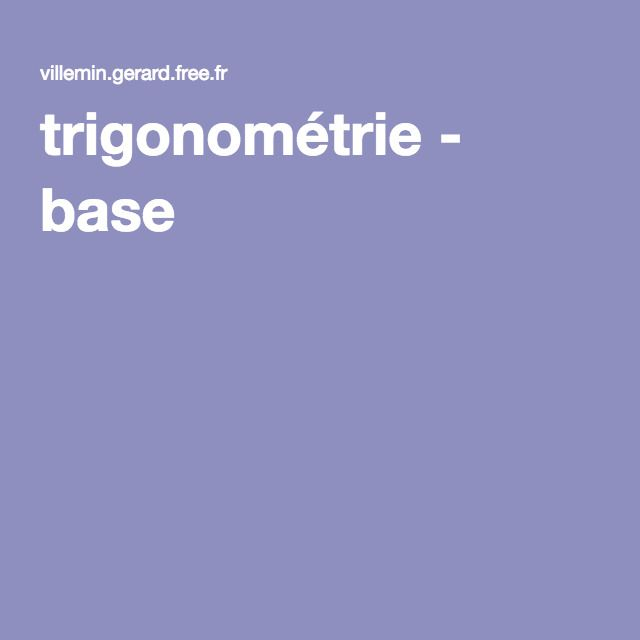 trigonométrie - base