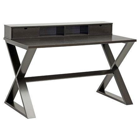 twodrawer writing desk in dark brown with two open very sleek
