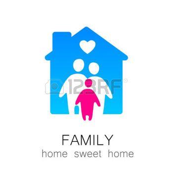 logo familia: Familia y concepto de hogar. Icono de la familia de la silueta y de la casa.