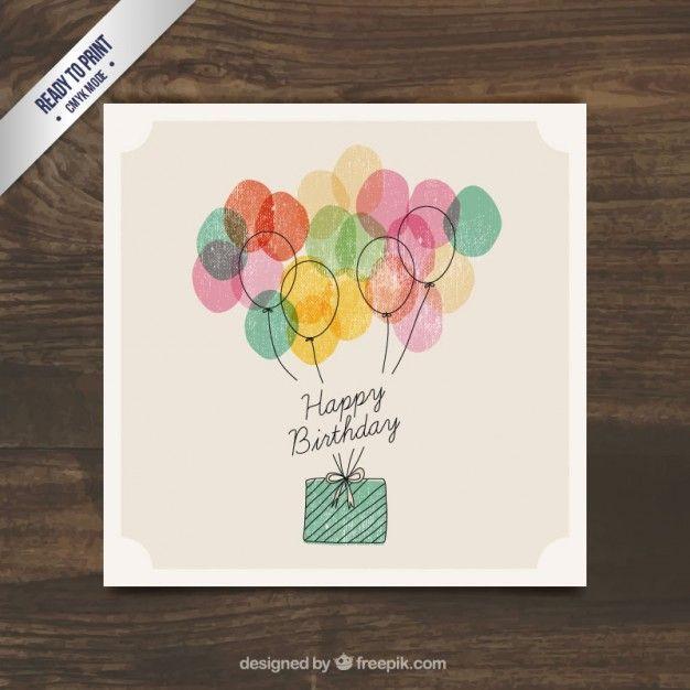 Presente Acuarela cumpleaños con los globos Vector Gratis