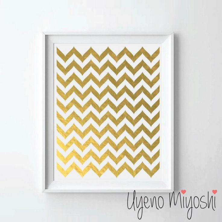 Chevron Pattern II Gold Foil Print Custom Quote In Illustration