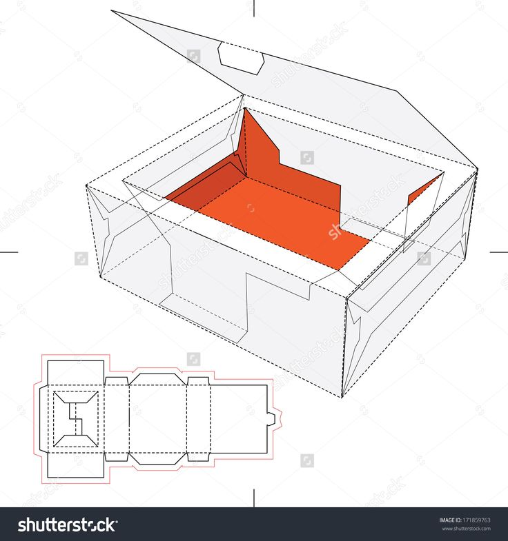 Tray Box With Rim Lid And Blueprint Layout Stock Vector Illustration 171859763 : Shutterstock