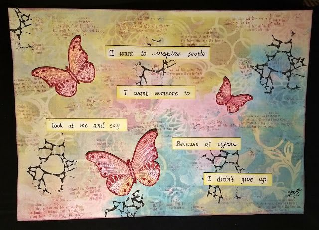 Inspire Art Journal Page  with Rubber Dance Stamps