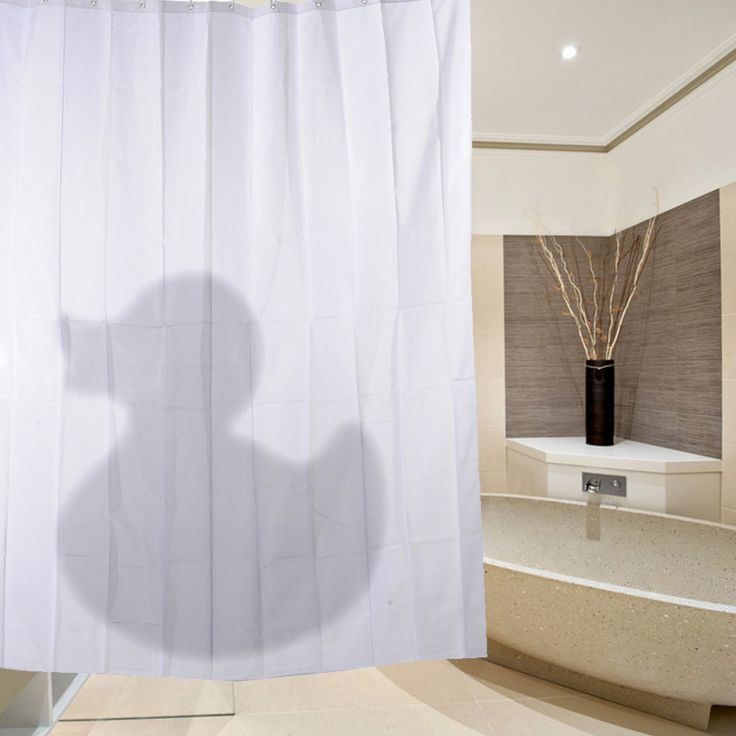 Hot Sale Modern Cartoon 3D Waterproof Polyester Shower Curtain Duck Shadow Pattern With 12 Plastic Hooks For Bath And Shower