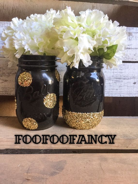 Black And Gold Mason Jar Centerpieces Black And Gold Mason Etsy