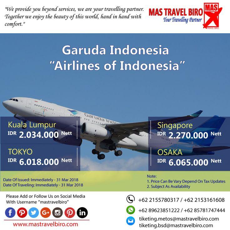 HOT PROMO Tiket GARUDA INDONESIA, Cek yuk Sekarang selagi ada!  Beli tiket pesawat & KAI, booking hotel dan beli paket tour diMas Travel Biro ajaa.  #mastravelbiro #promotiket #travelservices #tiketpesawat #travelagent #tourtravel #travelindonesia #opentrip #familytour