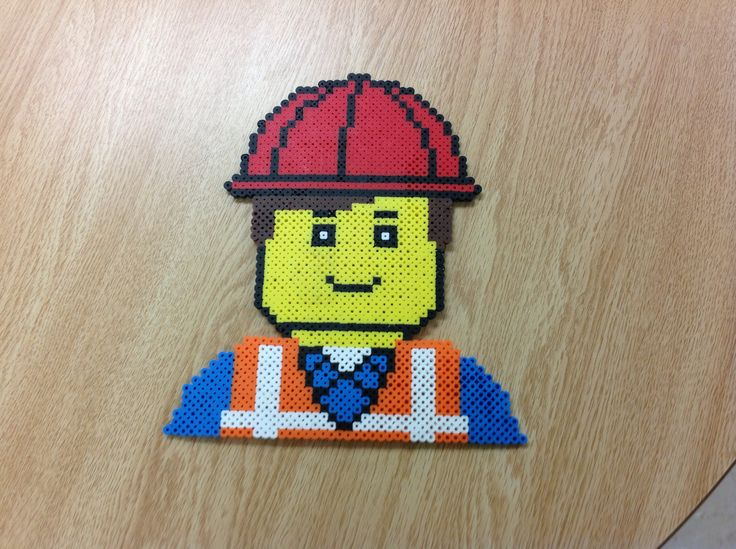 Emmet Lego Movie perler beads by Amanda Collison - Pattern: http://www.pinterest.com/pin/374291419003819154/