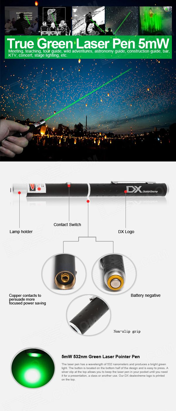 Cheap 5mW 532nm Green Laser Pointer Pen with DX Logo (2*AAA)