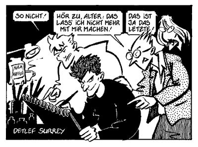 Detlef Surrey und die Kritiker Rick, Emil und Kalle. Copyright 1986 Detlef Surrey