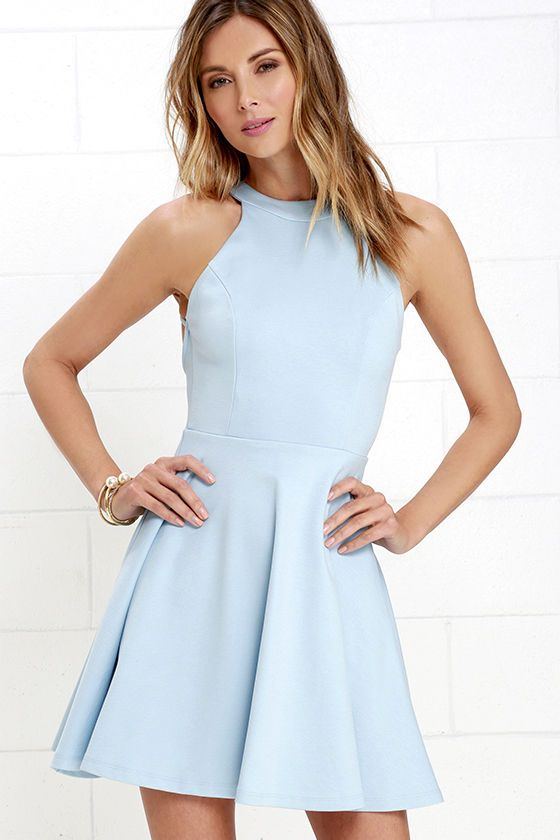 Puppies and perfumes make perfectly fine gifts, but they can't top the Delightful Surprise Light Blue Skater Dress! Medium-weight stretch knit shapes a seamed bodice with a halter neckline that fastens at back with a small gold button. Strappy accents frame a sultry open back, while a flaring skater skirt falls below. Hidden back zipper.