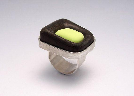 Handmade Ebony Wood, Silver, Eraser Ring - Gustavo Paradiso - 110€sur etsy