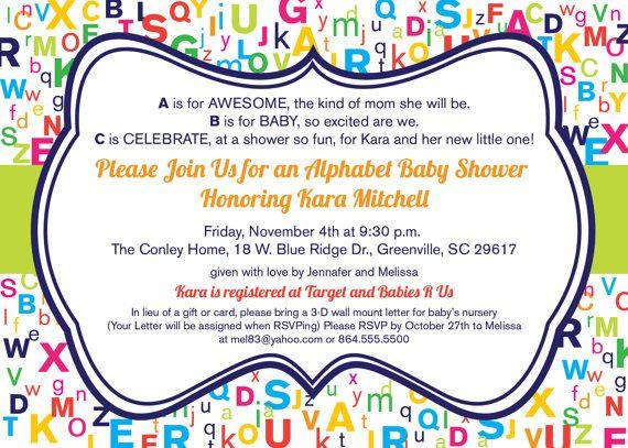 Alphabet Baby Shower Invitation, ABCs, Colorful, Gender Neutral, Printable DIY Digital File by OhCreativeOne, LLC