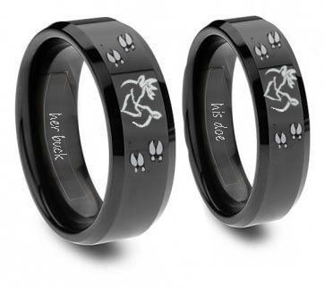 Southern Sisters Designs - Buck and Doe Ring Set Black Tungsten, $49.95 (http://www.southernsistersdesigns.com/buck-and-doe-ring-set-black-tungsten/)