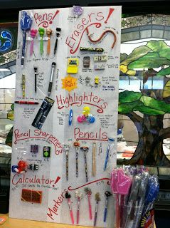 Attach one of each of the little items to a board and have the containers behind the desk great idea for book fair