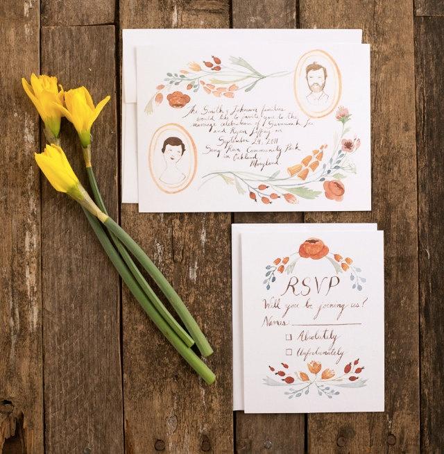 Floral Portraits hand drawn invitation set via Etsy.
