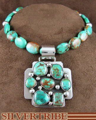 Native American Jewelry Genuine Sterling Silver Kingman Turquoise Bead Pendant And Necklace Set AS31952