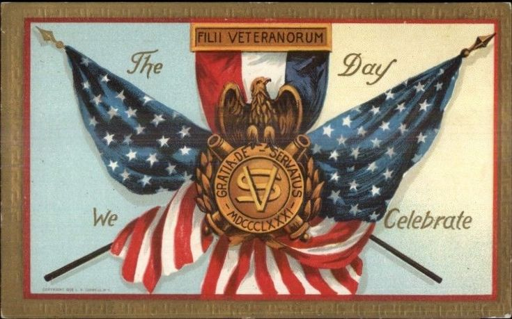 Veteran's Day American Flags Eagle & Cannons c1910 Postcard