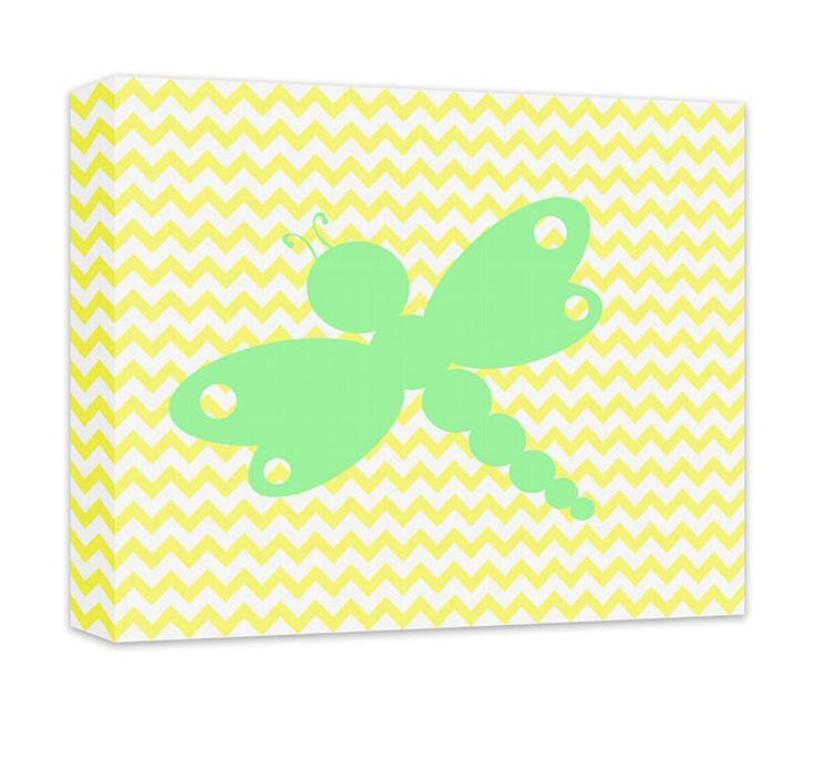 "Dragonfly I Canvas and Print Wall Art. Children's dragonfly design, wall art for kids in gallery wrapped canvas and prints. Baby Nursery, Kids Bedroom, Girl's Room, Boy's Room, Play Room, Children's Bathroom, Recreation Room, light green on pale yellow chevron. Available in .75"" or 1.5"" thick artist grade hand-stretched canvas or professional luster print, FREE personalization, add in comments if desired."