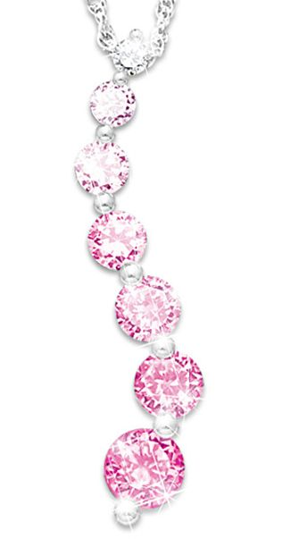 Pink Crystal Journey of Hope Breast Cancer Awareness Necklace