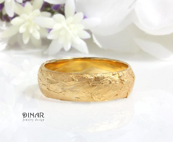 02293c13075 14k rustic style organic textured gold wedding ring