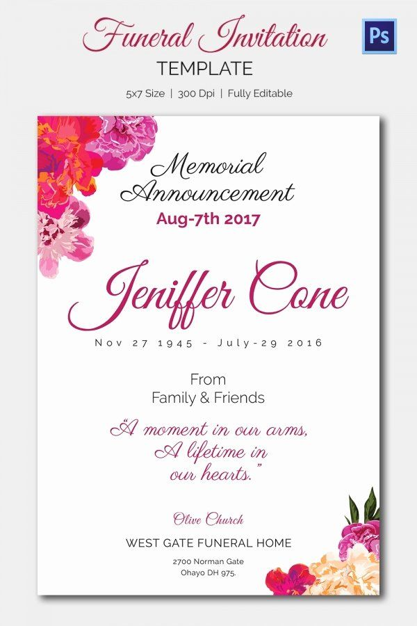 Free Funeral Invitation Template Unique Funeral Invitation Template 12 Free Psd Vector Eps Funeral Invitation Memorial Service Invitation Invitation Template