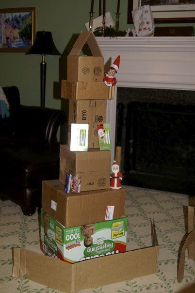 elf built a cardboard box tower: Christmas Elf, Elf Shenanigan, Elf Mischief, Elf Ideas, Elf Capad, Elf Inspiration, Elf Fun, Elf On The Shelf, Elf Built