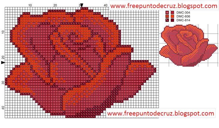 Rose+Cross+Stitch+Pattern+-+Rosa+Patrones+punto+de+cruz.png 1,122×657 píxeles
