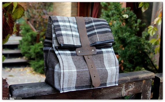 Coffee & Plaid Lunch Box / Insulated lunch by OplichLeatherGoods