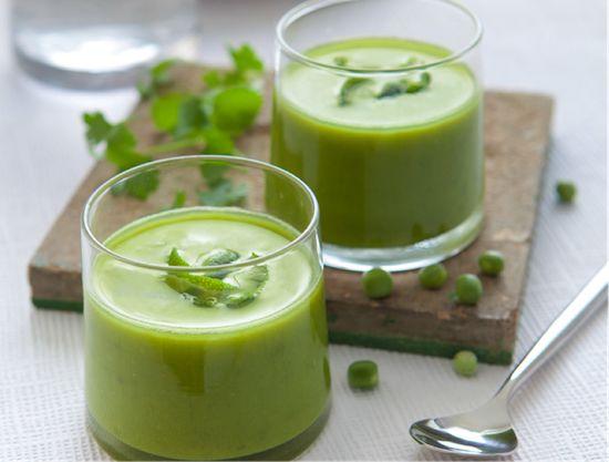 Crème de petits pois à la coriandre et au citron vert