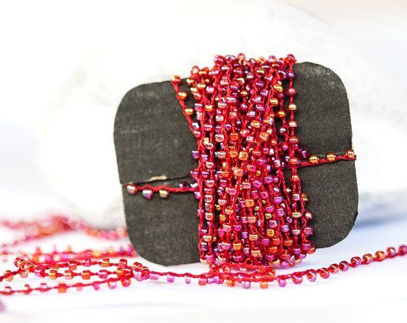 1410_Bead braid, Red beads, Beads thread, Transparent_AB bead braid for jewelry, Bead lace, Beading trim, Braid beads, Beads trimming_5 m.