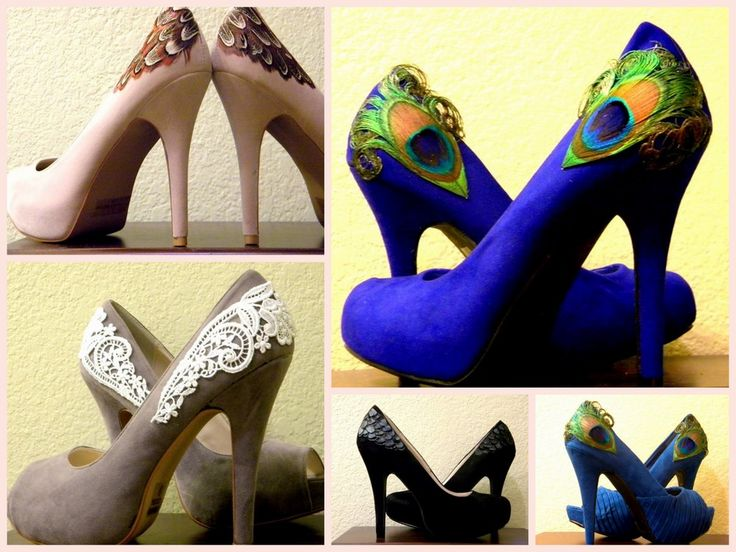 Inspiration for DIY feathered/lace heel upcycle.