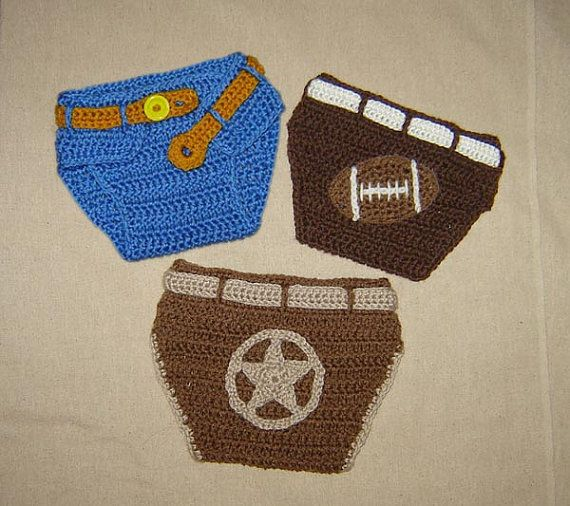 Free Crochet Pattern Football Diaper Cover : Baby Diaper Cover with Appliques of Football, Sheriff ...
