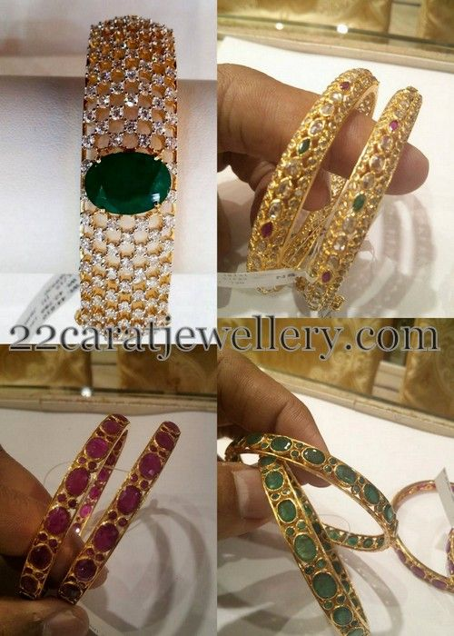 Jewellery Designs: Classic Bangles in Rubies, Emeralds CZs