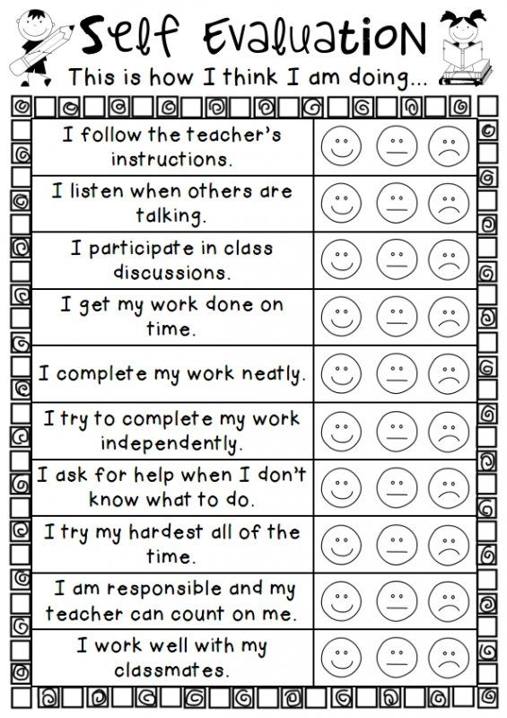 An easy personal self evalution sheet for students to use for reflection.