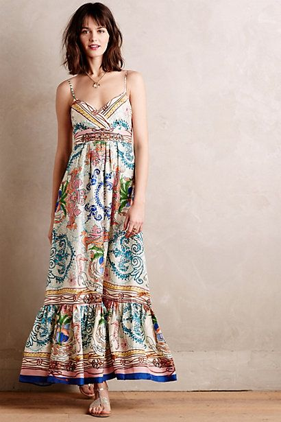 Collette Dinnigan for Anthropologie | Acionna Silk Maxi Dress #anthropologie
