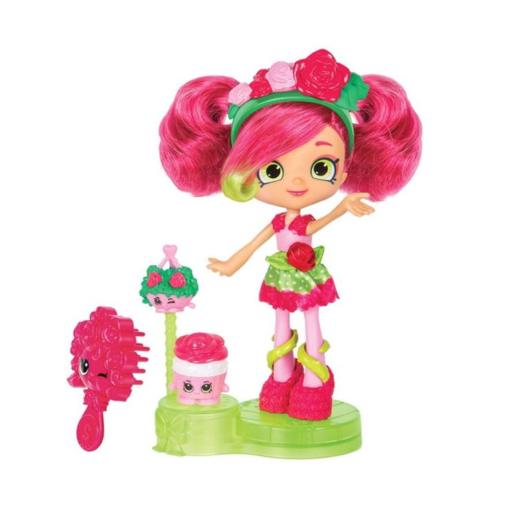 Add this Shopkins Shoppies Rosie Bloom Doll to your Shopkins Shoppies Doll collection. This Shopkins Shoppies Rosie Bloom Doll comes with 2 exclusive Shopkins, a hair band, a brush and a new display podium stand!