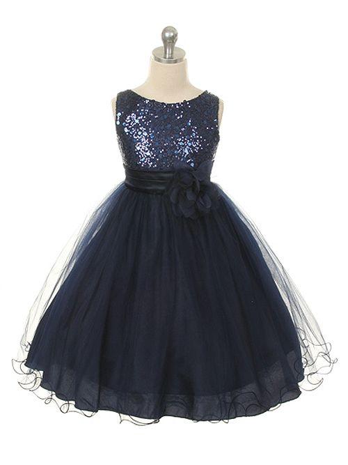 Sequin Navy Blue Tulle Skirt Flower Girl Dress