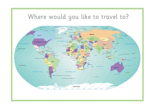 Printable World Map...Decorative printable world map, ideal to use when role playing a travel agency.